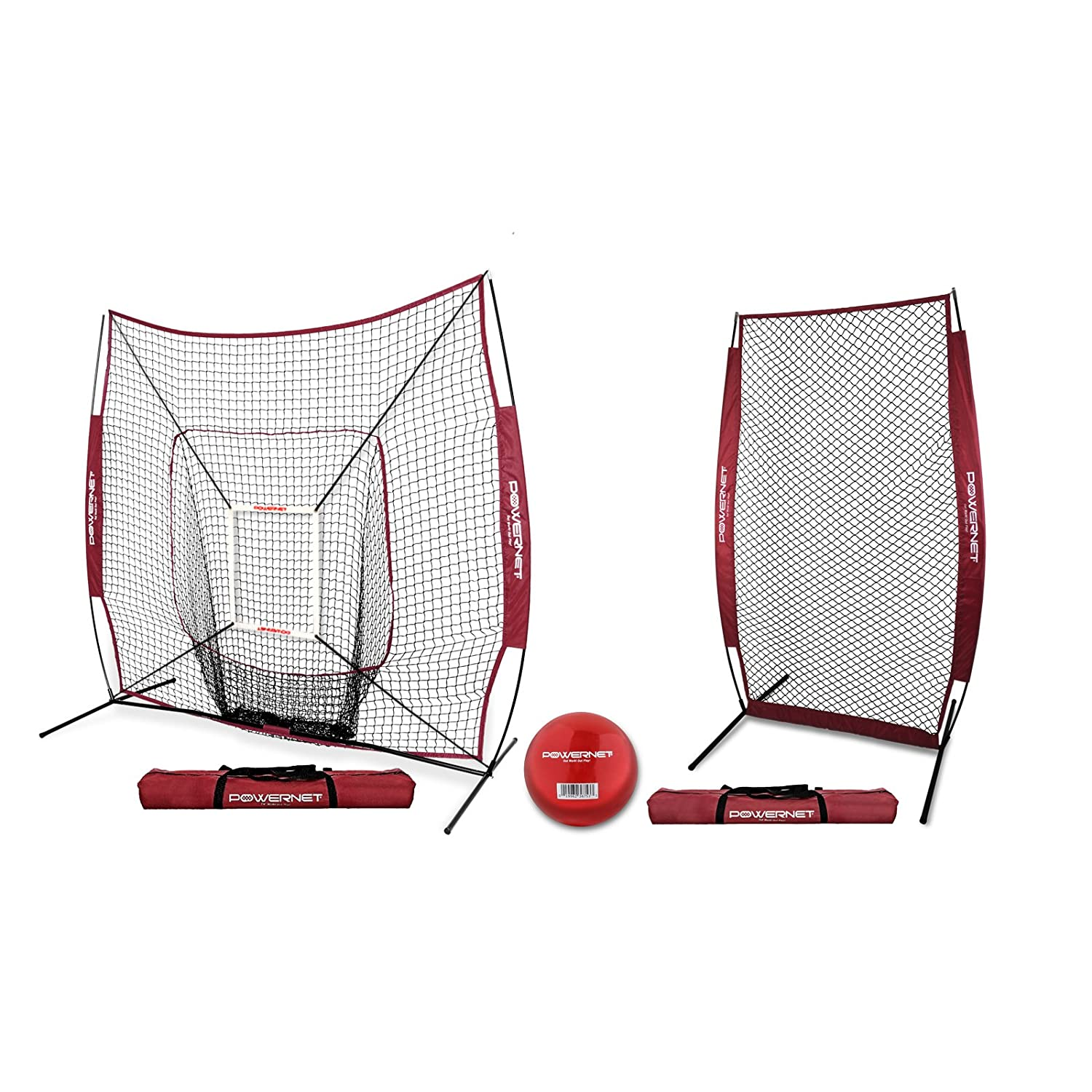 Softball Pitching Protection PowerNet 7x7 DLX Net and Portable Pitching I-Screen Bundle Instant Pitcher Barrier from Line Drives Grounders Front Toss Batting Practice Backstop