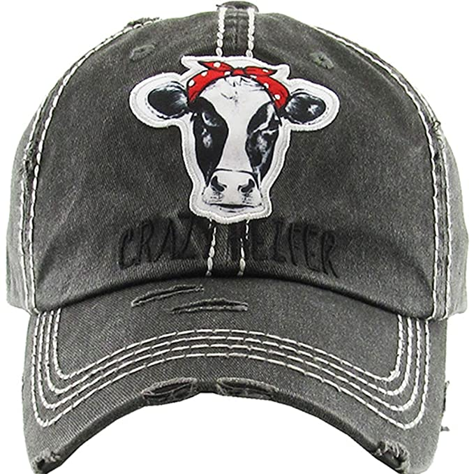a473ace489179e Kbethos Trading Women's Crazy Heifer Distressed Vintage Baseball Hat (Black)
