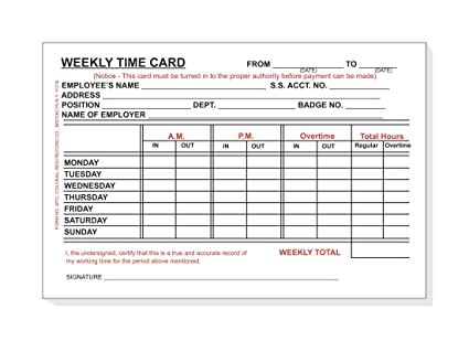 employee time card weekly monday thru sunday 4 x 6 bulk box of 10 - Weekly Time Card