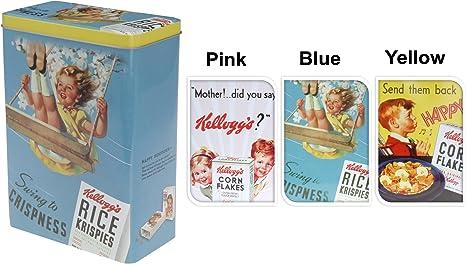 Amarillo Retro Kellogg s cereales lata de metal caja de almacenamiento de alimentos cocina: Amazon.es: Hogar