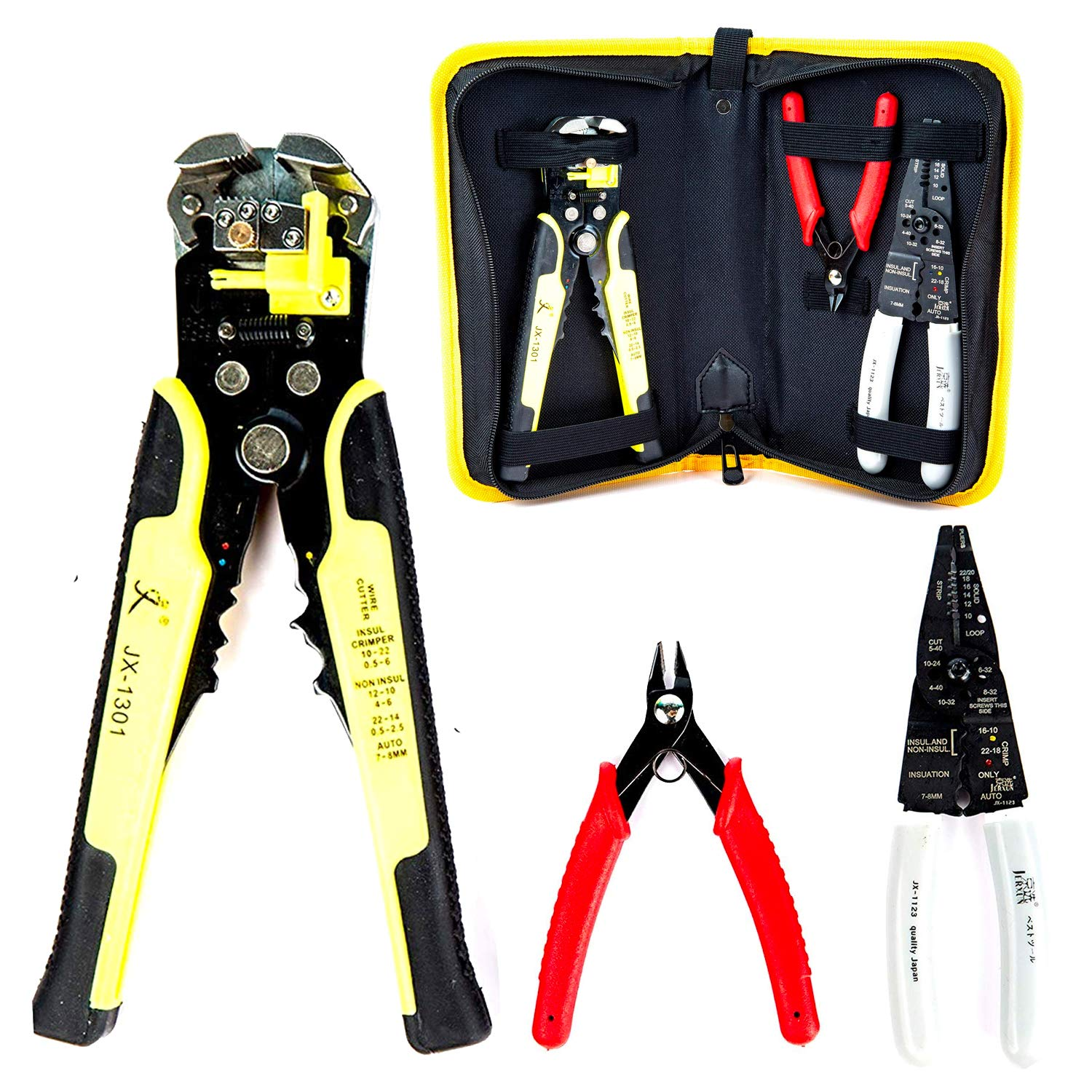 Wire Stripper Crimping Tool Kit, 8 Inch Self-Adjusting Wire Stripper, Automatic Wire Stripping Tool with Multi-Tool Wire Cutter and Wire Cutter, Cutting Pliers Tool with Storage Bag by Fstop Labs