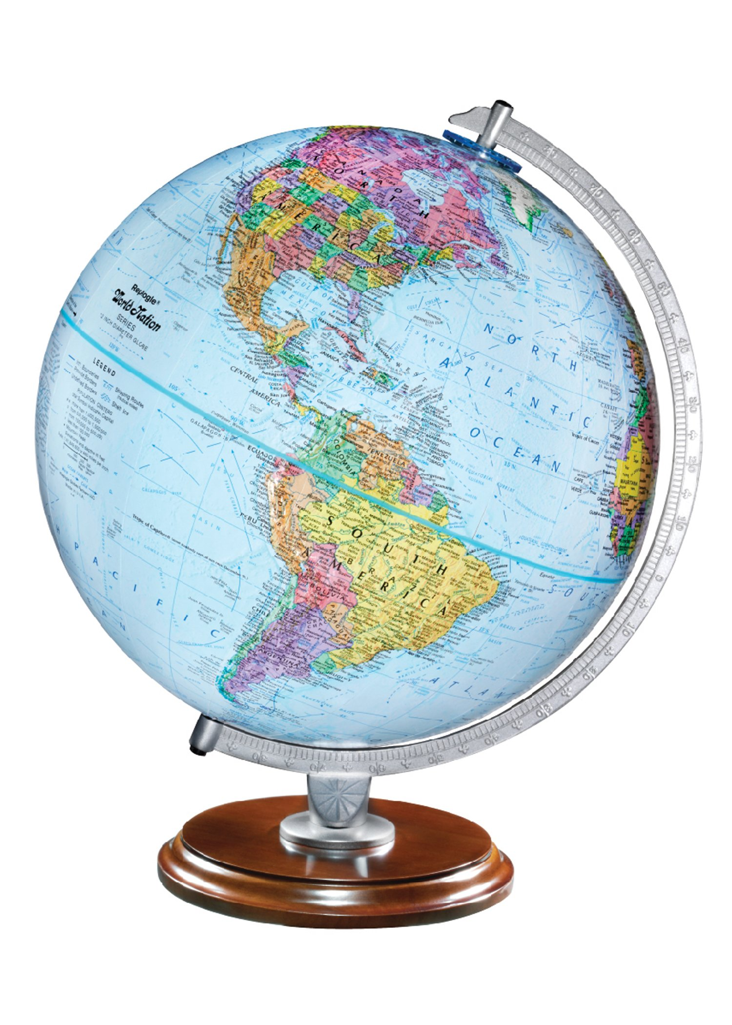 Replogle Standard - Educational Desktop World Globe for Kids and Teachers, Antique Walnut Wood Stand, Over 4,000 Place Names, Designed for Classroom Learning (12''/30 cm diameter)