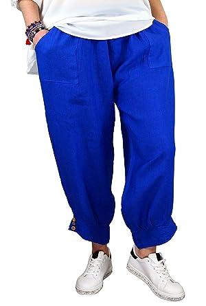 e1640f4038c14 Charleselie94® - Pantalon Femme Grande Taille Lin Bleu Royal FEMINA Bleu -  42
