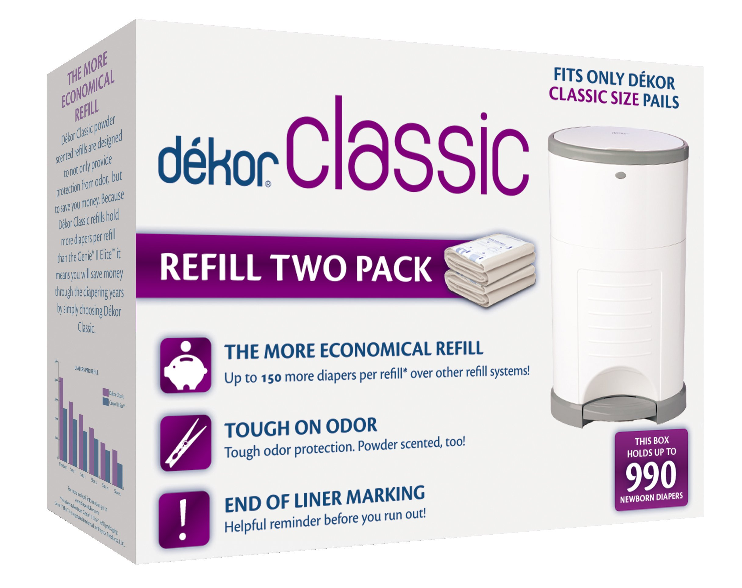 Dekor Classic Diaper Pail Refills | 2 Count | Most Economical Refill System | Quick & Easy to Replace | No Preset Bag Size - Use Only What You Need | Exclusive End-of-Liner Marking | Baby Powder Scent by DEKOR