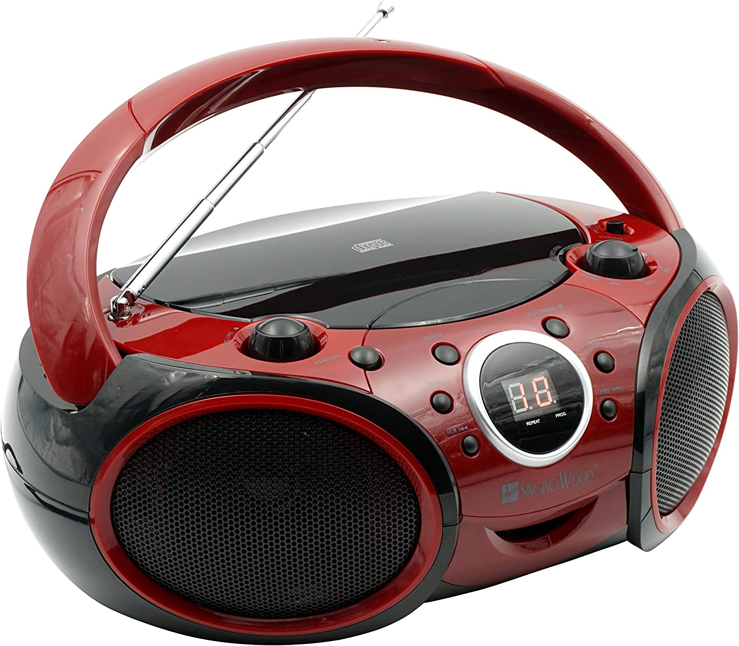 SINGING WOOD CD, CD-R/RW Player Portable/w Bluetooth Analog Tuning AM/FM Radio Aux Input, Headset Jack, Foldable Carrying Handle (Firemist Red)