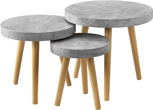 en.casa] Set de 3 mesas de diseño - Mesa Auxiliar - Redondas ...