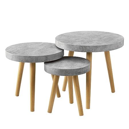[en.CASA] Table de Salon kit de 3 béton Gris Table d\'appoint Table Salon