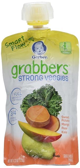 Gerber Graduates Grabbers Strong Veggies, Sweet Potato Mango Pear Kale, 12 Count
