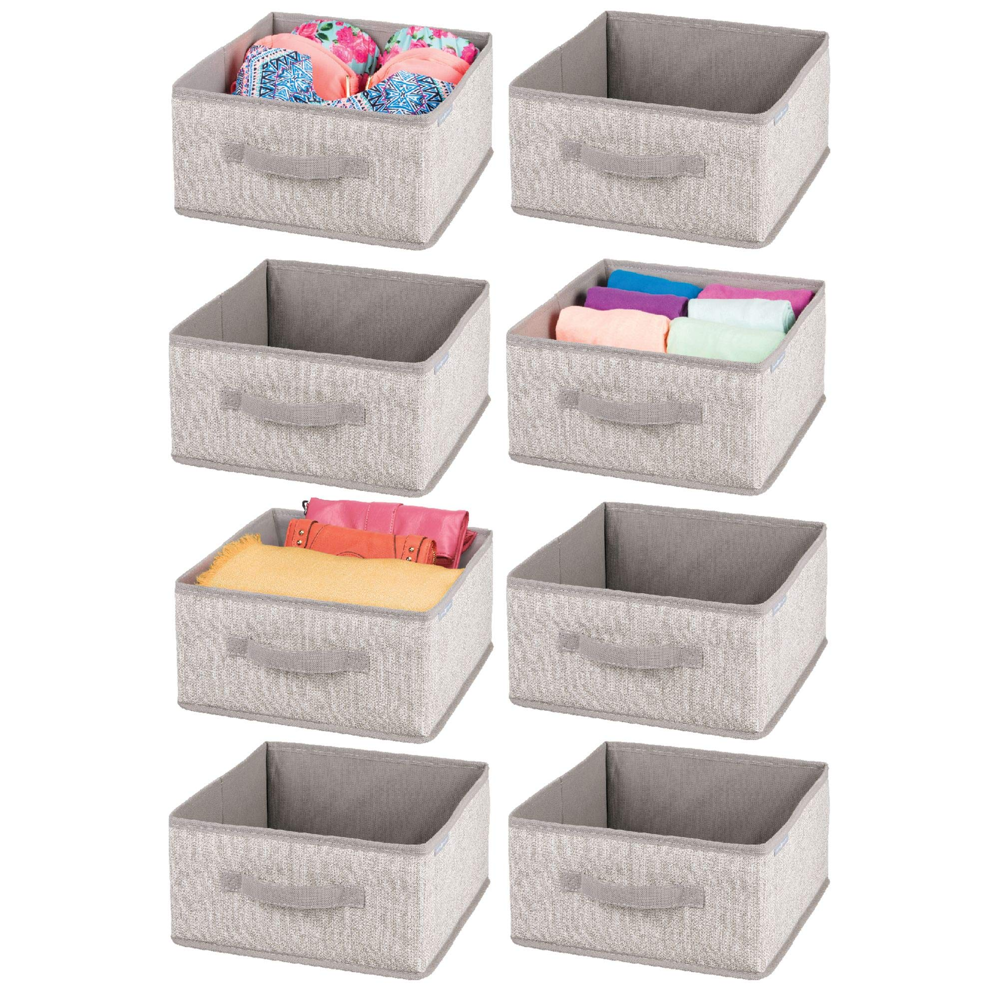 mDesign Soft Fabric Closet Storage Organizers Holders Bins Boxes - Front Handle, for Closet, Bedroom, Bathroom, Home Office Cubes Cubical Furniture Organization - 5.5'' high - Pack of 8, Linen/Tan