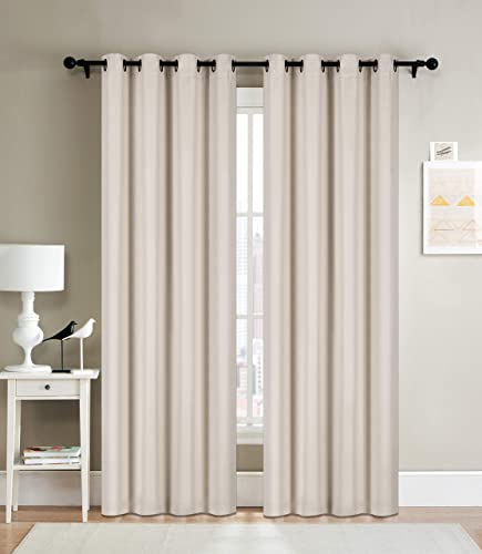 Curtainsville Amy – Room Darkening Curtain Two Panels Window Treatments Draperies Silver Grommet top Livingroom Bedroom Kitchen Office Lt Beige, 2 Panel 56×91