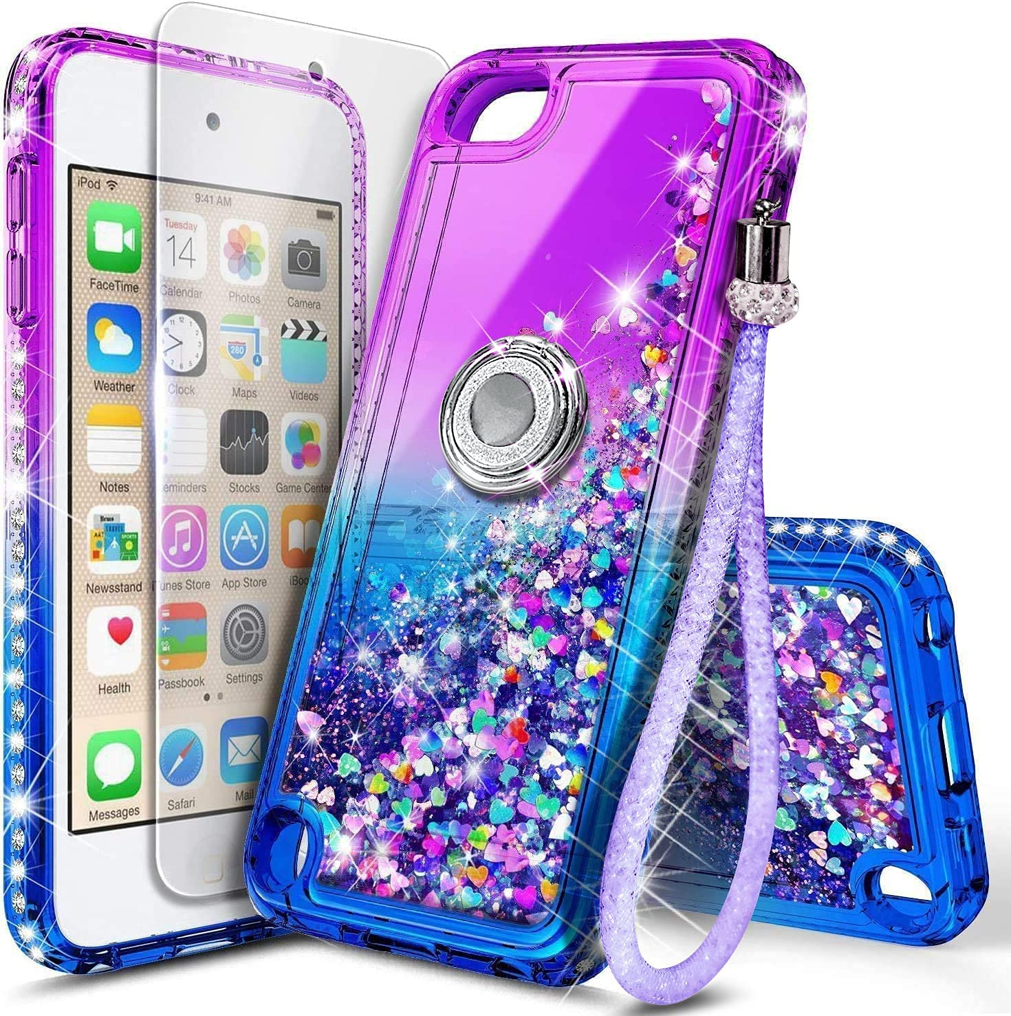 NGB iPod Touch 7 Case, iPod Touch 6/5 Case with Tempered Glass Screen Protector and Ring Holder for Girls Women Kids, Glitter Liquid Cute Case for Apple iPod Touch 7th/6th/5th Generation (Purple/Blue)
