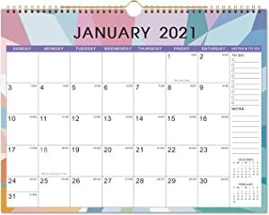 """Calendar 2021 - Monthly Wall Calendar with Thick Paper, 14.6"""" x 11.5"""", Jan - Dec 2021 Twin-Wire Binding + Hanging Hook + Large Blocks with Julian Dates - Color Blocking"""