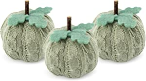 AuldHome Sweater Pumpkins (Set of 3, Gray); Fall Thanksgiving Table Topper Seasonal Decor for Centerpieces, Shelf Decor, Home and Office