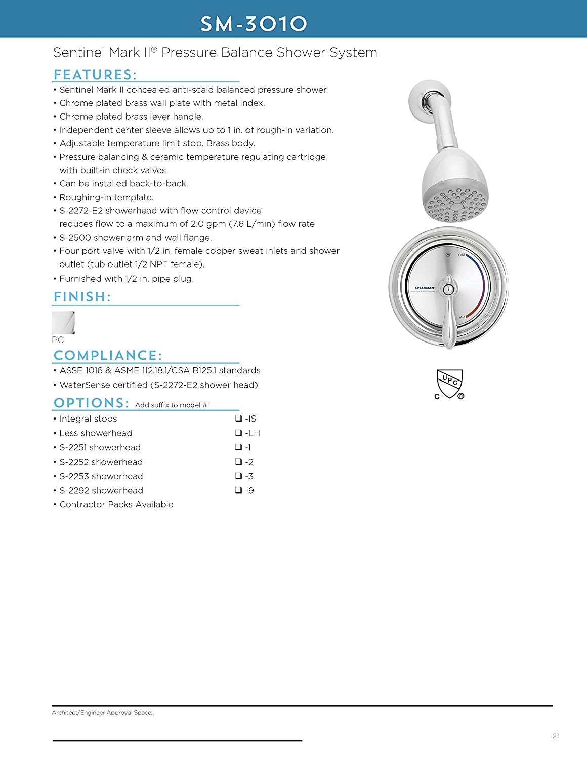 Polished Chrome Speakman Sm 3010 Is Sentinel Mark Ii Pressure Balanced Shower Combination With Integral Stops