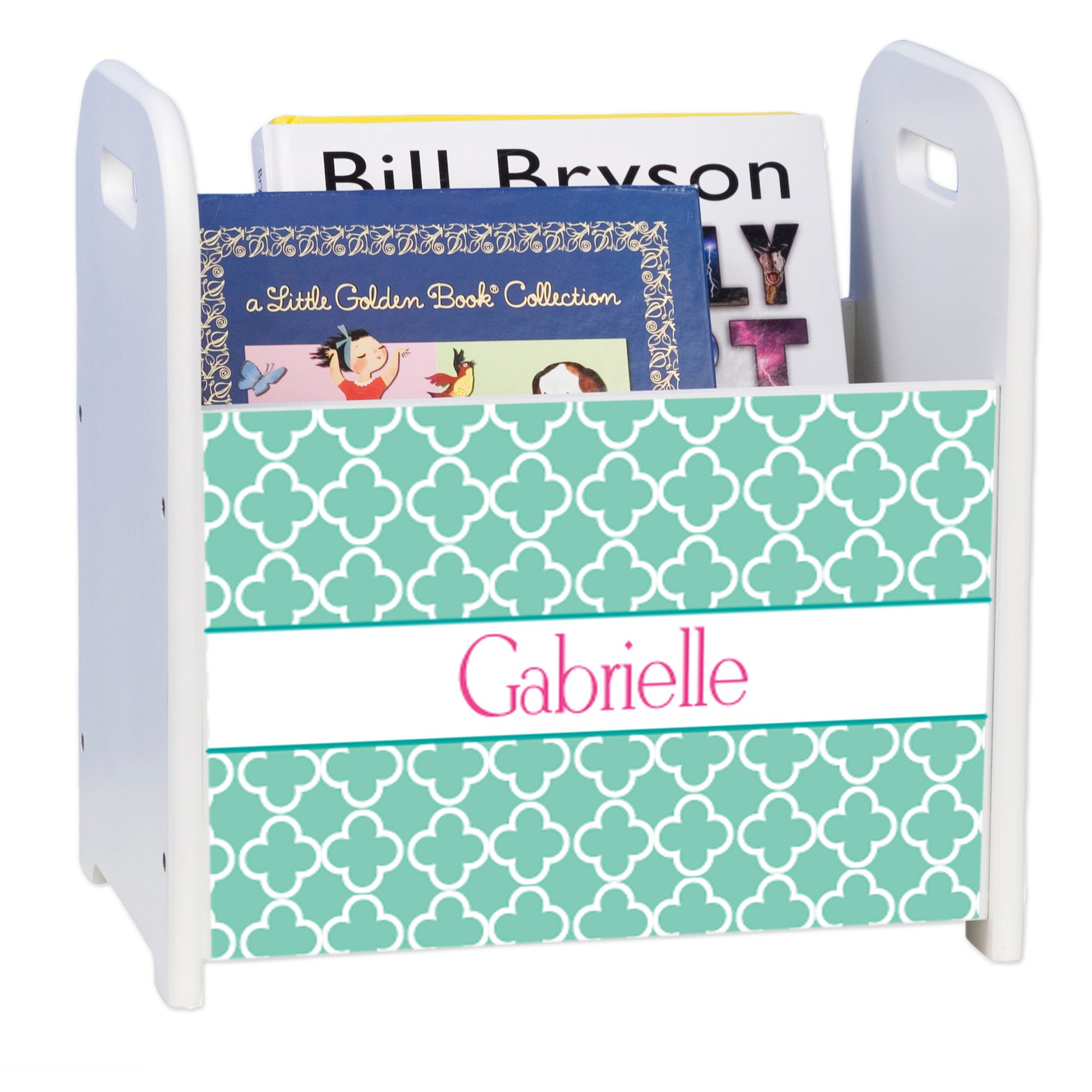 Personalized Tiles Aqua White Book Caddy and Rack by MyBambino (Image #1)