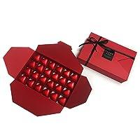 Caja roja de bombones en forma de sobre - 48 bombones de chocolate con leche
