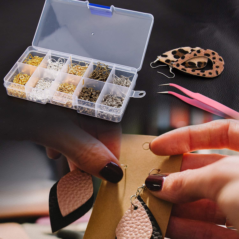 AIEX 1150 Pezzi Ganci per Orecchini Anelli per Saltare Kit Creazione di Gioielli Forniture con Pinze Pinzette per Orecchini Creazione e Riparazione Fai da Te 5 Colori