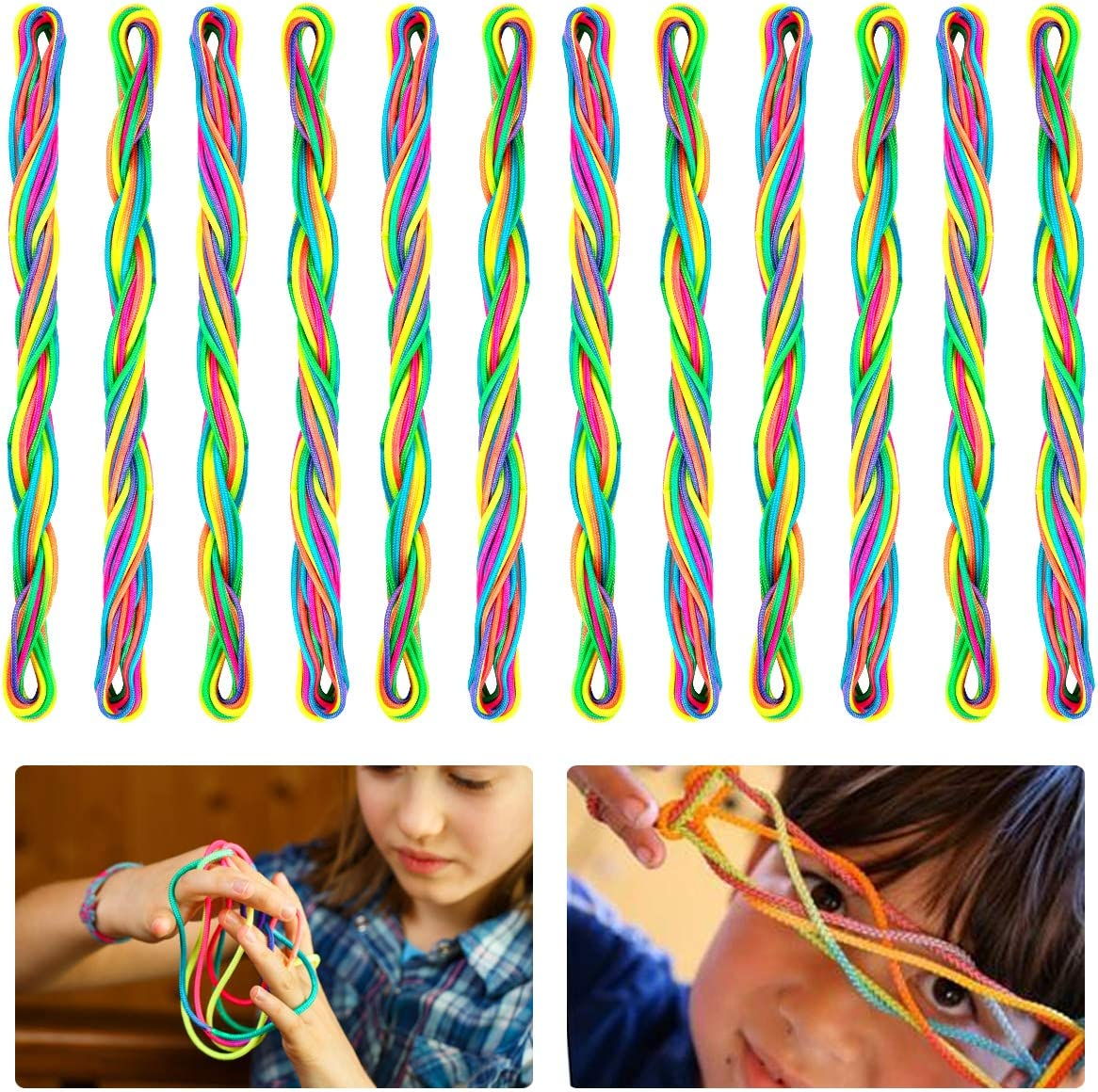 Rainbow String Rope Art Cat/'s Cradle Kids Fidget Fumble Finger Game Development
