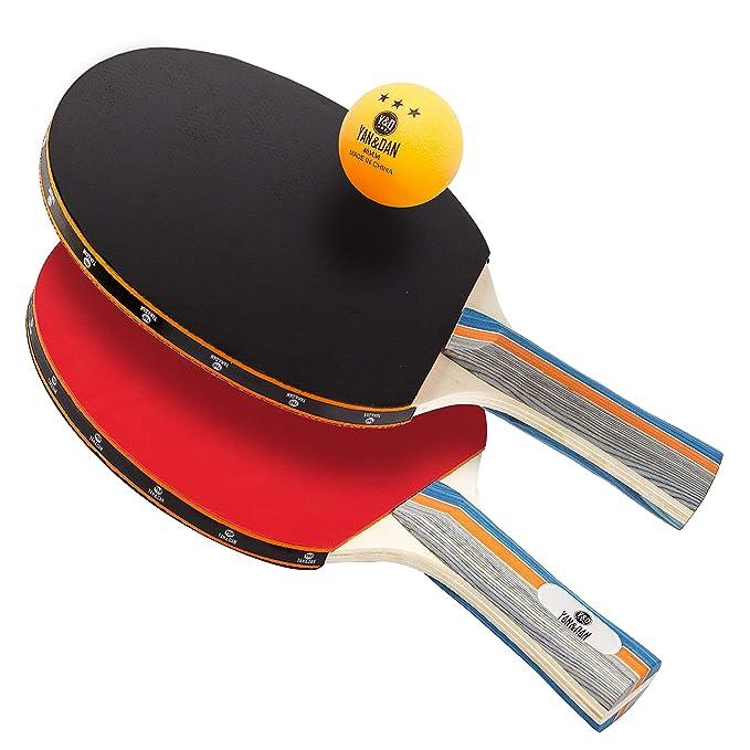 Amazon.com: Yan&Dan Ping Pong Paddle Set - Juego de tenis de ...