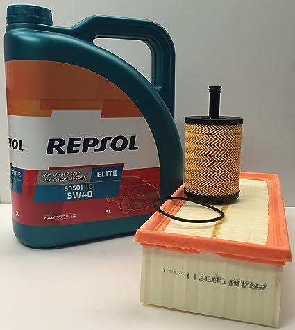 Pack Repsol elite TDI 5w40 505 01 + filtro aceite y Aire para motores Volkswagen / Seat TDi