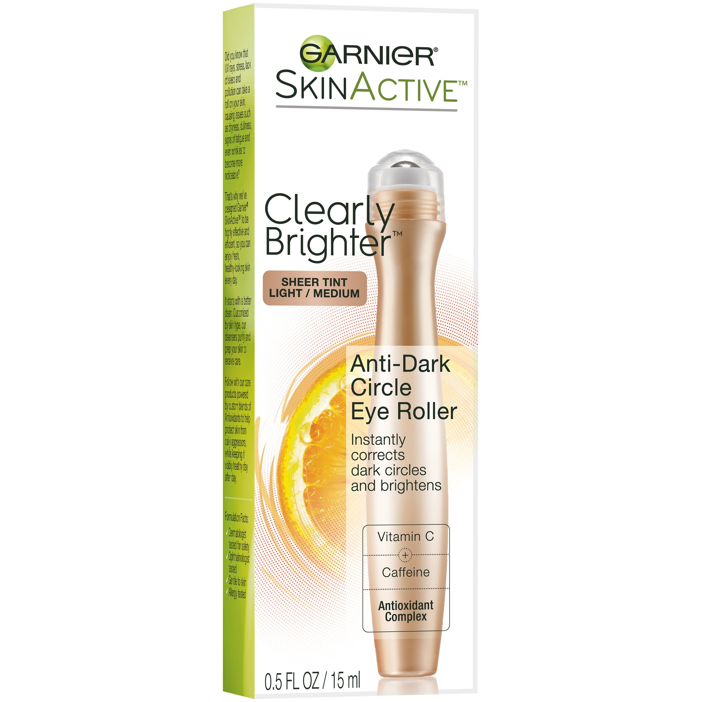 2 Pack - Garnier SkinActive Clearly Brighter Anti-Puff Eye Roller 0.5 oz Clear Skin Acne Solution and Scar Reducer Benzoyl peroxid free Organic Anti-acne treatment and Acne Scars Reducing Cream. No Burning or Drying Skin.