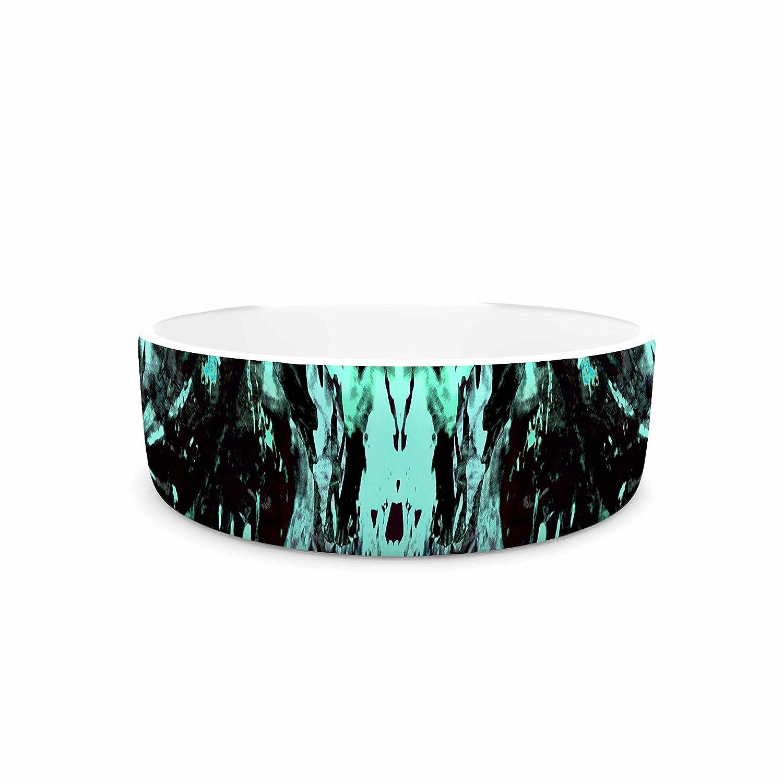 KESS InHouse Vasare NAR Abstract Aqua Black Black Aqua Mixed Media Pet Bowl, 7  Diameter