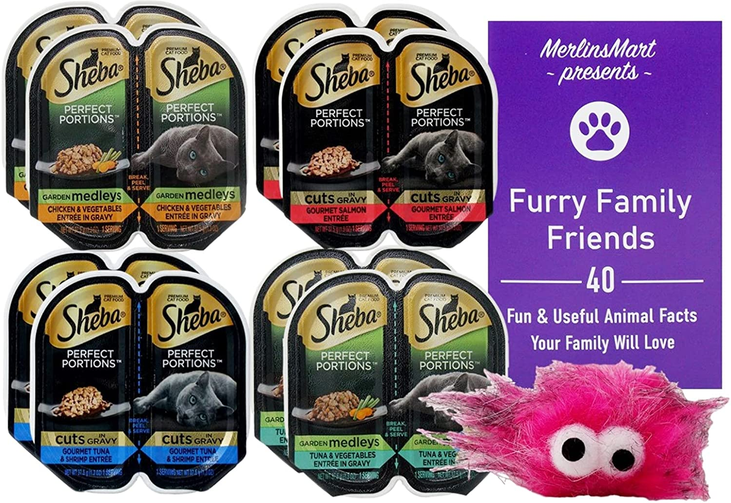 Sheba Perfect Portions Garden Medley Cuts in Gravy Cat Food 4 Flavor 8 Can Variety Sampler, (2) Each: Chicken, Salmon, Tuna Shrimp, Tuna (2.6 Ounces) - Plus Catnip Toy and Fun Facts Booklet Bundle