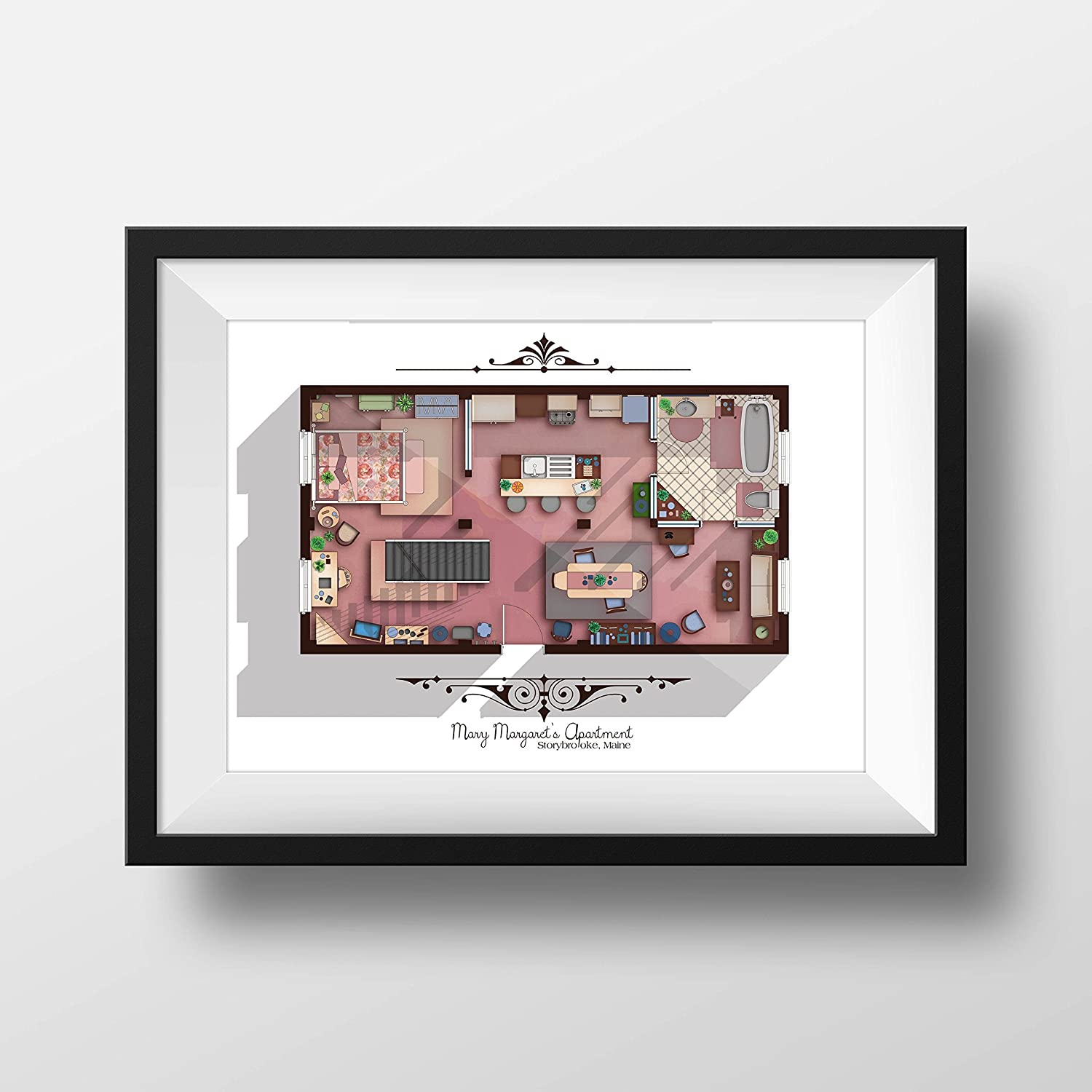 Amazon Com Once Upon A Time Tv Show Apartment Floor Plan Mary Margaret S Apartment Layout Mary Margaret And Emma Swan Apartment Storybrooke Maine Ouat Handmade