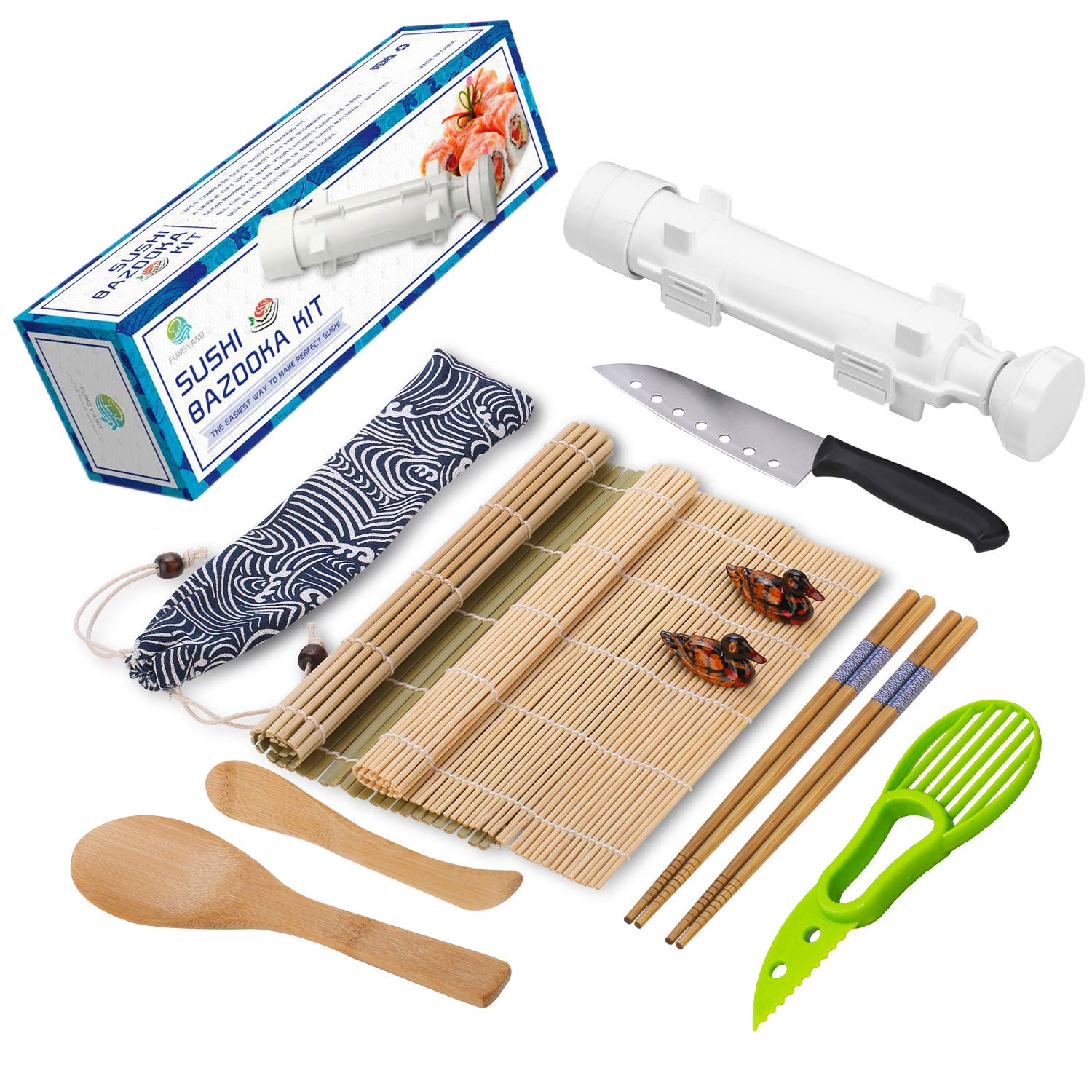 Sushi Making Kit - All In One Sushi Bazooka Maker with Bamboo Mats, Bamboo Chopsticks, Avocado Slicer, Paddle, Spreader, Sushi Knife, Chopsticks Holder and Cotton Bag - Gift Box by Kitchen Solo