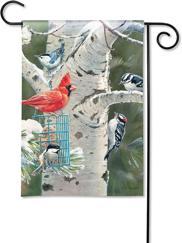 BreezeArt Studio M Winter Birds Fall/Winter Decorative Garden Flag – Premium Quality, 12.5 x 18 Inches