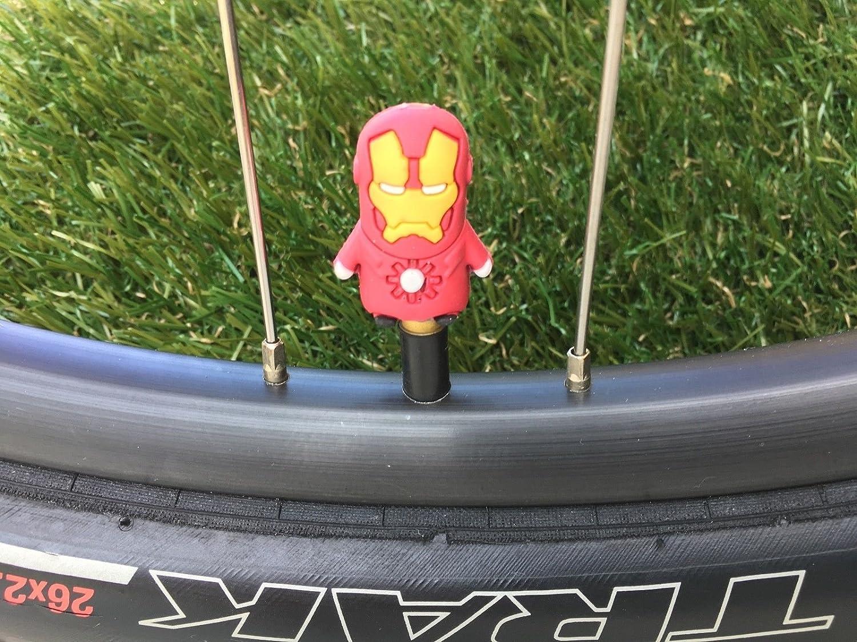2スーパーヒーロー。。。シュレーダーバルブキャップ。。。iron-man。。。Cycling。。。MTB自転車。。。 B077SRK2JP