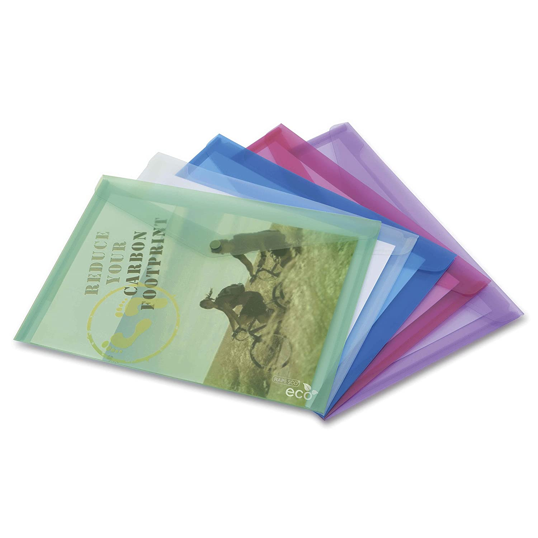 Rapesco Documentos - Carpeta A4+ fabricada con materiales ecologicos, transparente, 5 unidades: Amazon.es: Oficina y papelería