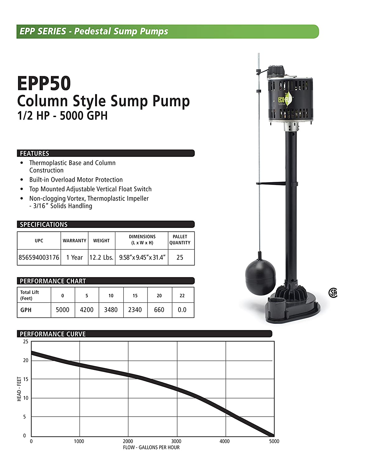 Eco Flo Products Epp50 Pedestal Sump Pump With Vertical Float Switch Wiring 1 2 Hp