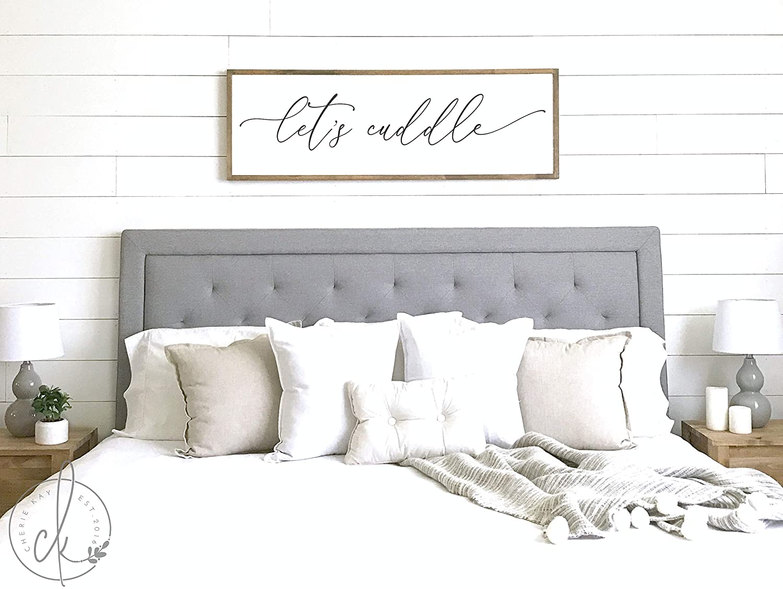Master Bedroom Sign Let's Cuddle Master Bedroom Decor Wall Decor Bedroom Wall Art Wood Framed Signs 6x20inch