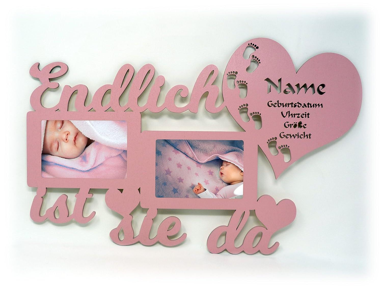 Geschenke zur Geburt Bilderrahmen mit Namen und Geburtsdaten Endlich ...