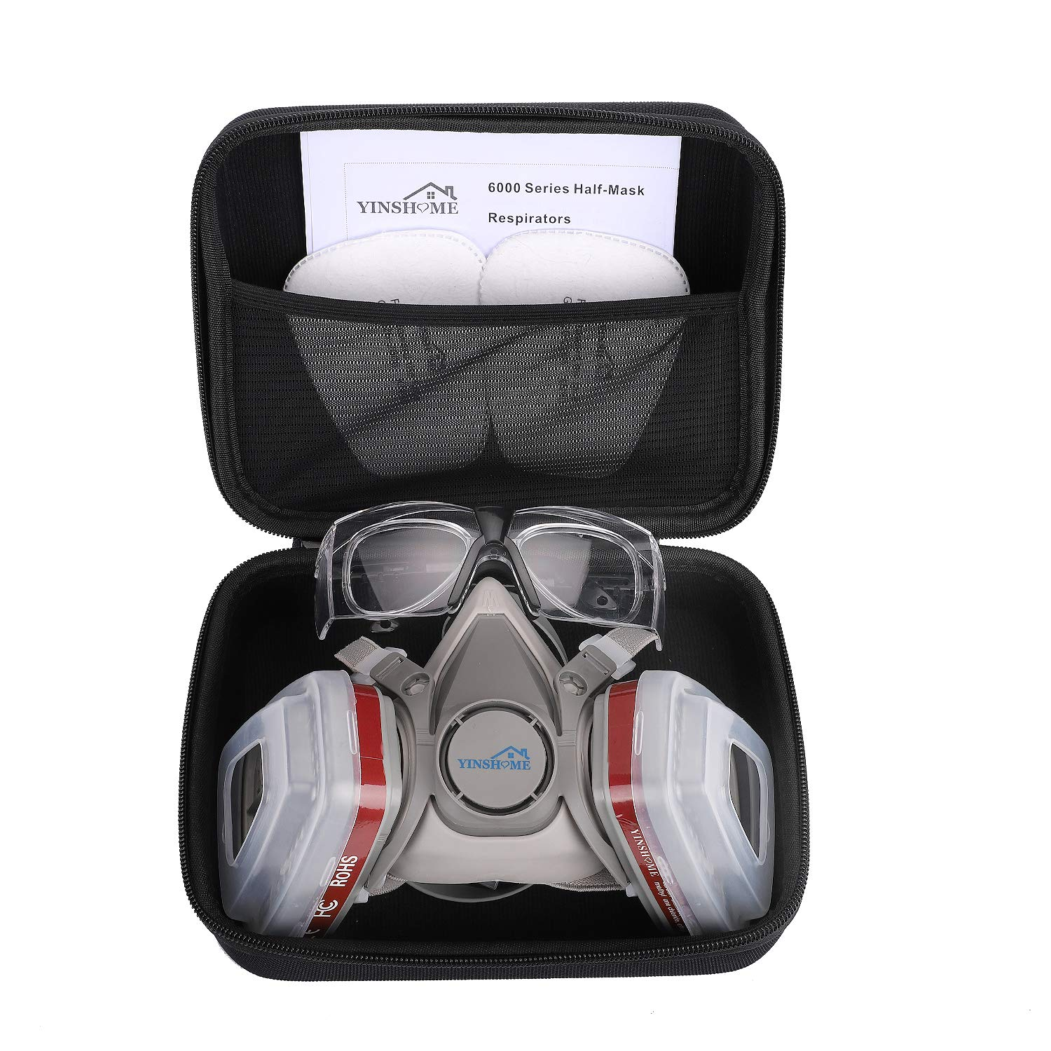 Yinshome Respirator Mask(Plus Safety Glasses and Hard Travel Case),Gas Mask Respirator with Filter as Paint Mask,Chemical Mask for Breathing Protection Respirator Against Dust,Organic Vapors,Chemicals by YINSHOME