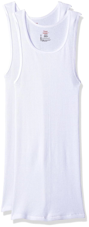 Hanes Men's 2 Pack FreshIQ Comfortsoft Tagless A-Shirt M0372D