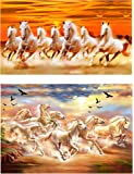 wallpics™ Seven Lucky Running Horses Vastu Wallpapers Fully Waterproof Vinyl Sticker Poster for Living Room,Bedroom,Office,Kids Room,Hall (12X18) (Pack of 2)
