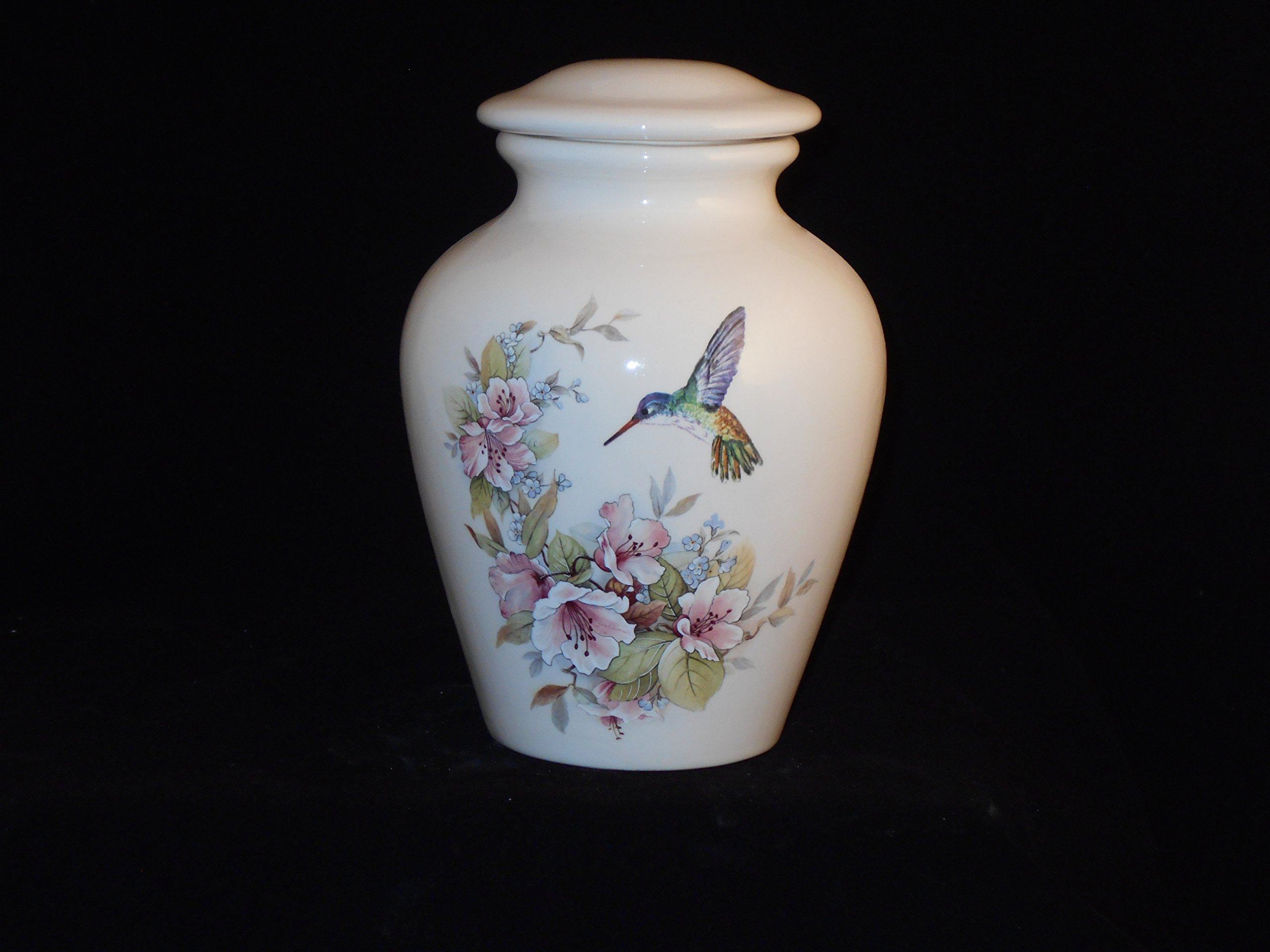 Flower with Hummingbird Urn- Cremation Urn or Keepsake for Ashes - Hand Made Pottery (90 Cubic Inch Medium)