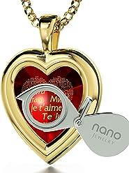 Vergoldete Herzkette Ich Liebe Dich Graviert in 120 Sprachen mit 24k Gold  auf 16mm Zirkonia Anhänger 687df34334