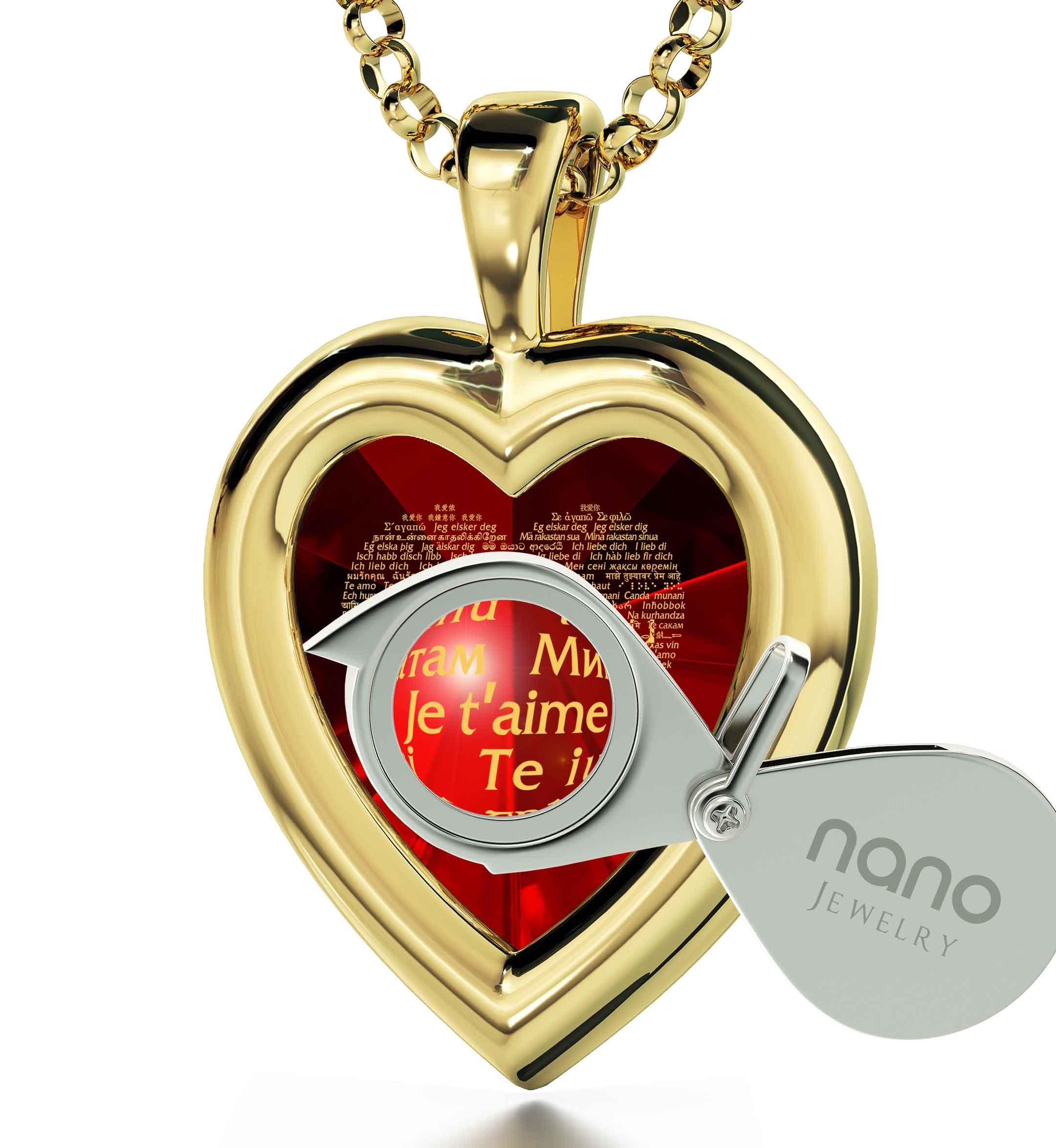 Yellow Gold Plated Heart Pendant I Love You Necklace 120 Languages 24k Inscribed Red Cubic Zirconia, 18'' by Nano Jewelry (Image #2)