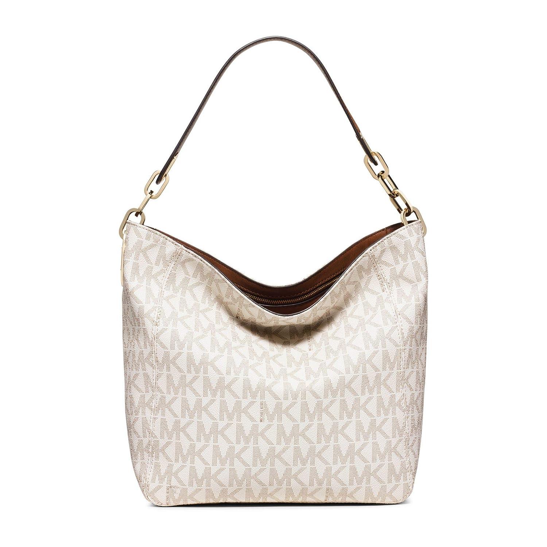 4bc8b0b46e43 Amazon.com  Michael Kors Fulton Medium Leather Shoulder Bag- Vanilla   Clothing