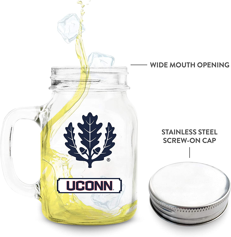NCAA Connecticut Huskies 20oz Glass Mason Jar