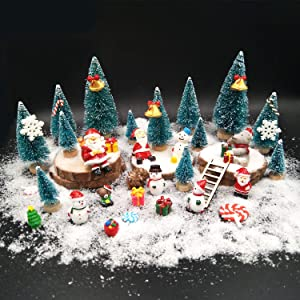 EMiEN 45PCS Winter Christmas Miniature Ornament Kits for DIY Christmas Scene Fairy Garden Dollhouse Home Décor, Mini Christmas Trees, Snowman for Christmas Party Decoration Micro Landscape Accessories