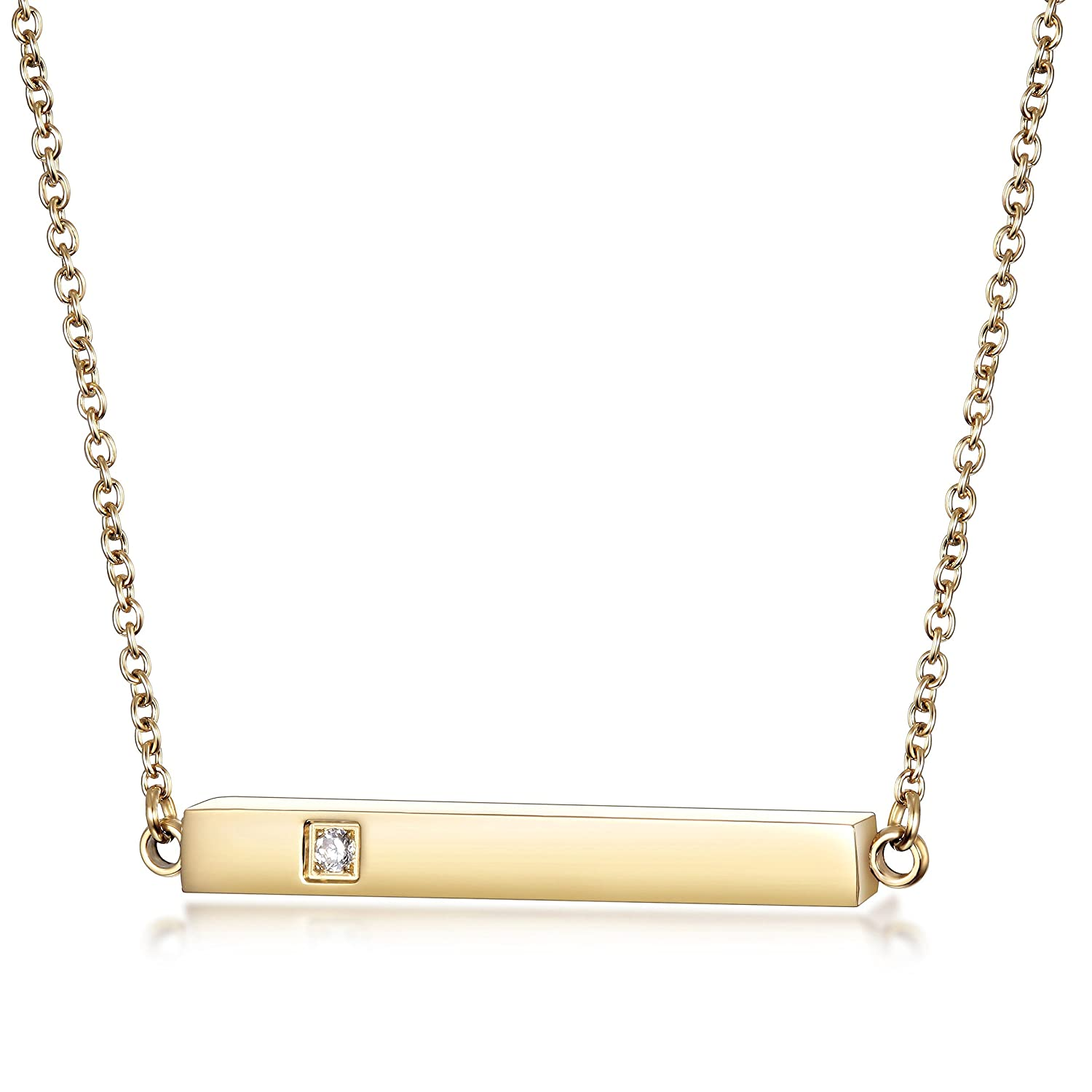 Wistic Bar Necklace Stainless Steel Gold Plated Adjustable with Engravable Bar Pendant(16Inch+2) gold pendant necklace