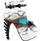 54ed90bb65a67 Show Story Punk Snake Skin Print Bow Stud Buckle Bone Heels Platform Ankle  Boots