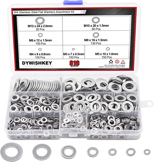 Flat Washer resistant finish 260PCS Assortment Set 7 sizes Spring Washer for industrial construction fasteners
