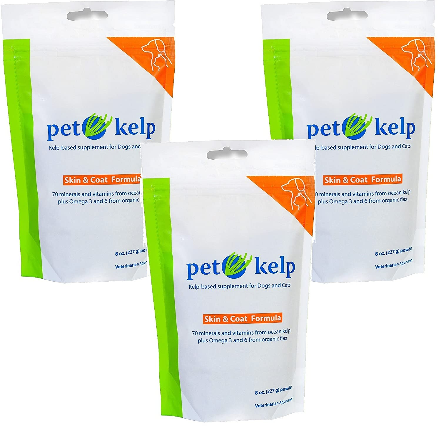 (3 Pack) Pet Kelp Skin and Coat Formula 8 Ounces each