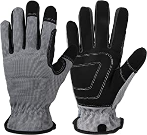 Work Gloves 2 Pairs Garden Yard Working Glove Multipurpose Light Duty Gardening Gloves for Men Women Medium Grey