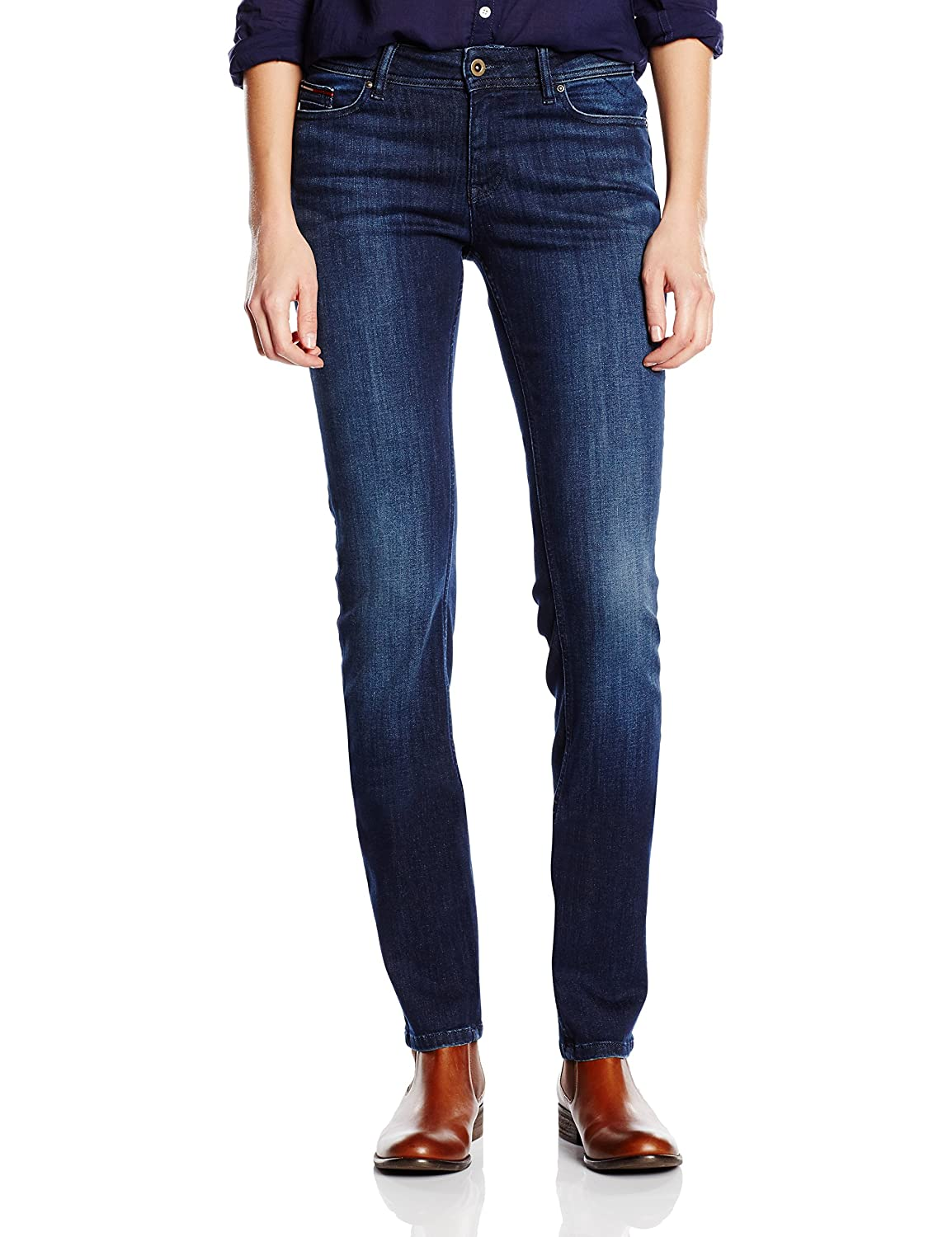 TALLA W25/L34 (Talla fabricante: 25/34). Tommy Jeans Mid Rise Straight Sandy Dast Pantalones para Mujer